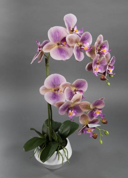 Orchidee Real Touch 60x30cm helllila / lila im weißen Keramiktopf GA Kunstblumen künstliche Blumen