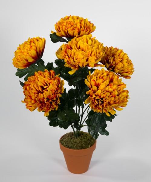 Chrysantheme 48cm gelb-orange im Topf LM Kunstpflanzen künstlichen Pflanzen Kunstblumen