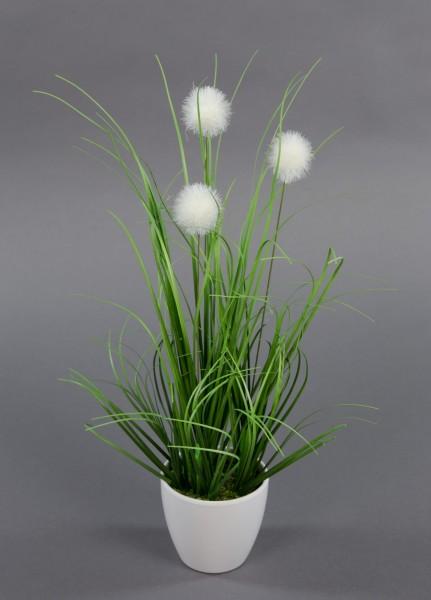 Kugelgras 38cm im weißen Dekotopf GA Kunstpflanzen künstliche Pflanzen Dekogras Kunstgras