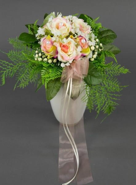 Brautstrauß mit Rosen rosa-creme Kunstblumen Seidenblumen künstliche Blume künstlicher Blumenstrauß