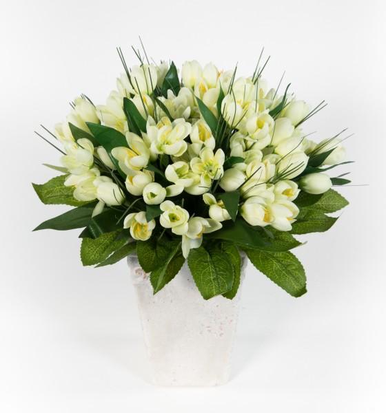 Krokusstrauß 32x30cm weiß Frühlingsstrauß Kunstblumen künstlicher handgebundener Strauß Blumenstrauß