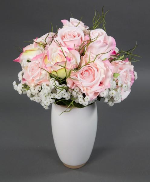 Rosenstrauß 38x30cm hellrosa Kunstblumen künstlicher Strauß Blumenstrauß künstliche Blumen