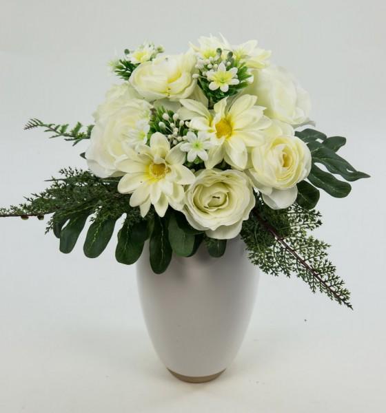 Rosen-Ranunkel-Dahlien-Bouquet 24cm weiß-creme DP Kunstblumen künstlicher Strauß Seidenblumen