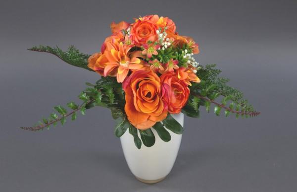 Rosen-Ranunkel-Dahlien-Bouquet 24cm orange DP Kunstblumen künstlicher Strauß Seidenblumen