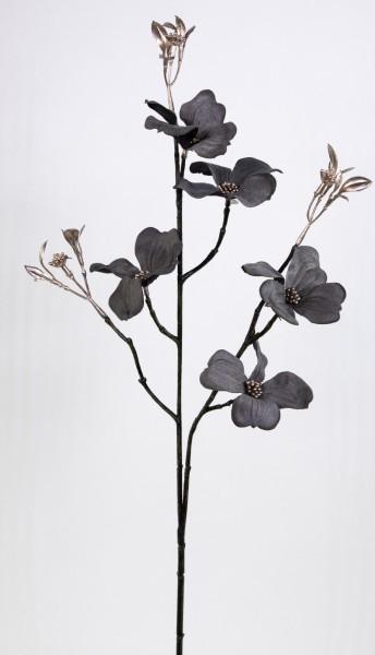 Cornuszweig / Hartriegel 68cm anthrazit GA Kunstblumen künstlicher Cornus Blumen