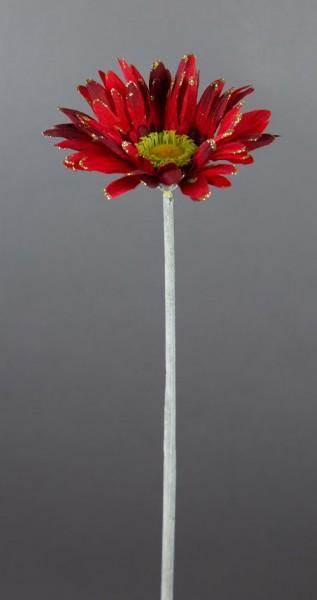360 Stück Gerbera 56cm mit Glitter rot/dunkelrot PF Kunstblumen Seidenblumen künstliche Blumen