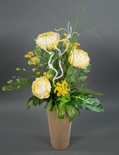 Ranunkelstrauß 65x45cm gelb Kunstblumen künstliche Ranunkel Blumen Strauß Blumenstrauß