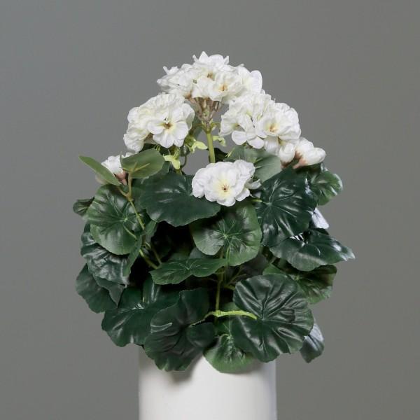 Geranie 36x28cm weiß -ohne Topf- DP Kunstpflanzen künstliche Blumen Pflanzen Kunstblumen