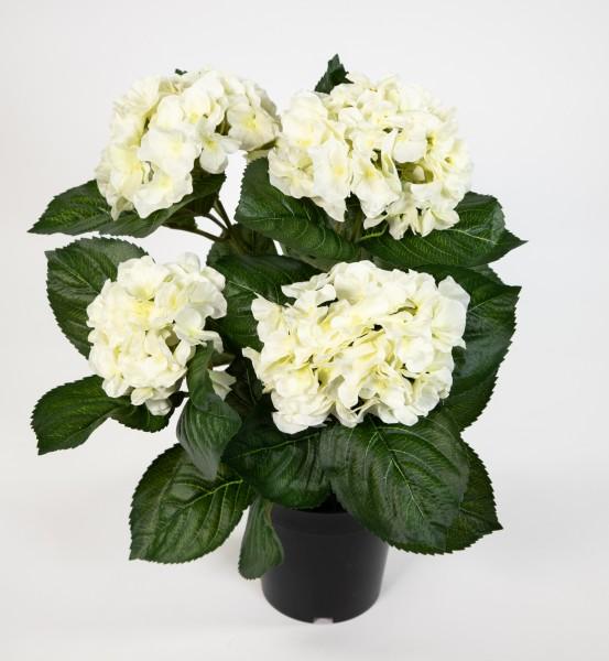 Hortensienbusch Deluxe 42cm weiß-creme im Topf LM Kunstpflanzen künstliche Hortensie Pflanzen Blumen