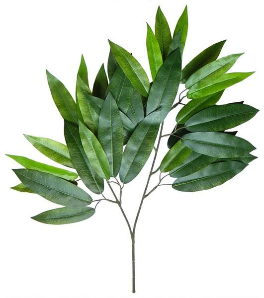 12 Stück Mangozweig 60cm mit 36 Blättern DA Kunstzweig künstlicher Blattzweig Mango Mangoblatt