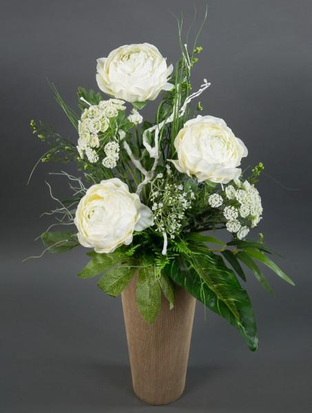 Ranunkelstrauß 65x45cm weiß Kunstblumen künstliche Ranunkel Blumen Strauß Blumenstrauß