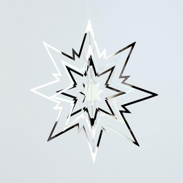 3D Stern Ornament 23x23cm silber DP Dekostern