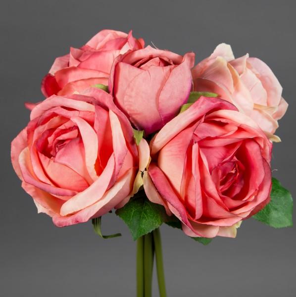 Rosenstrauß 28x20cm rosa-pink FT Kunstblumen künstliche Rosen Blumen Strauß Blumenstrauß
