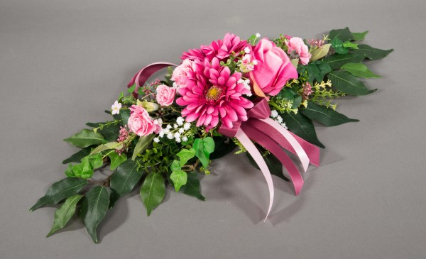 Tischgesteck länglich 60cm rosa-pink mit Rosen Gerbera und Nelken Kunstblumen Seidenblumen künstlich
