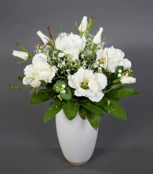 Lysianthusstrauß 32x30cm weiß Kunstblumen künstlicher handgebundener Strauß Blumenstrauß