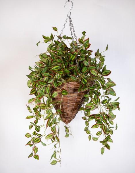 Pflanzampel Gr.M mit Melonenblattranke 50cm/80cm DA Kunstpflanzen Hängeampel Blumenampel künstliche