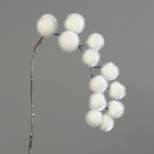Kugelgras / Kugelzweig 82cm weiß DP künstlicher Zweig Kunstblumen künstliche Blumen