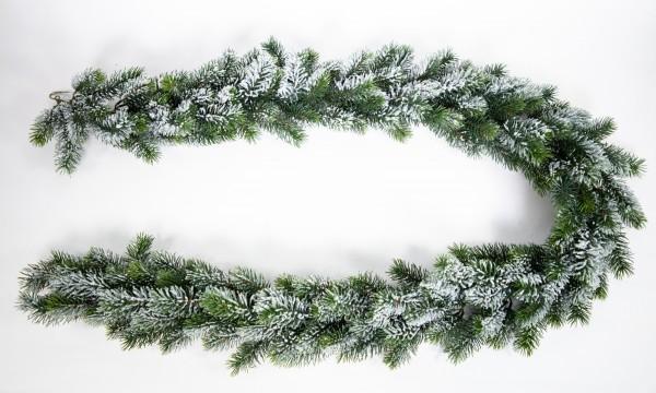 Künstliche Tannengirlande mit Schnee aus Kunststoff 190cm DP Kunsttanne Spritzguss 100% PE