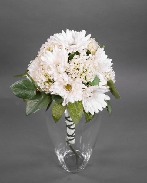 Gerberastrauß / Brautstrauß 40x32cm weiß - Kunstblumen künstlicher Strauß Blumenstrauß