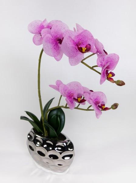 Orchidee Real Touch 38x24cm rosa-pink in Silber-Keramikvase GA Kunstblumen künstliche Blumen