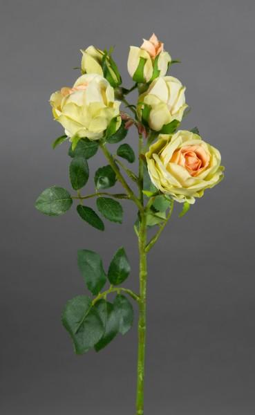 Rosenzweig 40cm creme-peach-grün GA Kunstblumen Seidenblumen künstliche Rosen Rose