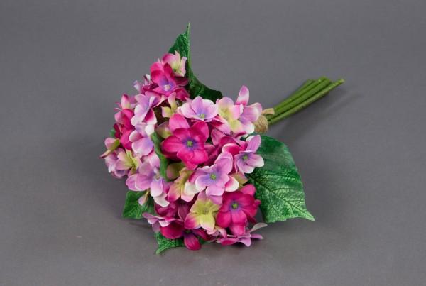 Hortensienstrauß / Hortensienbouquet 24cm rosa-pink PF Kunstblumen künstlicher Strauß Seidenblumen