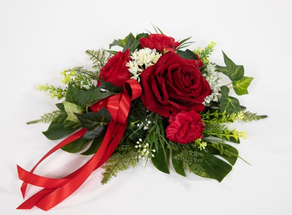 Tischgesteck / Wandhänger rund 30cm rot Kunstblumen künstliche Blumen Gesteck