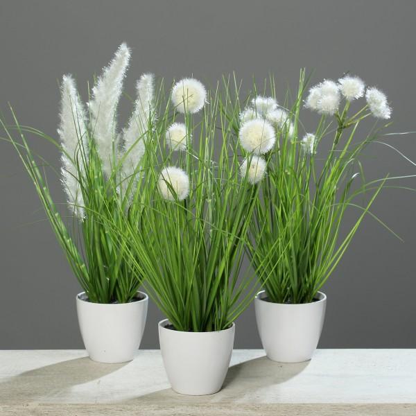 3er Gras-Set 38cm/40cm/48cm im weißen Dekotopf DP Kunstpflanzen Kunstgras Dekogras künstliches Gras