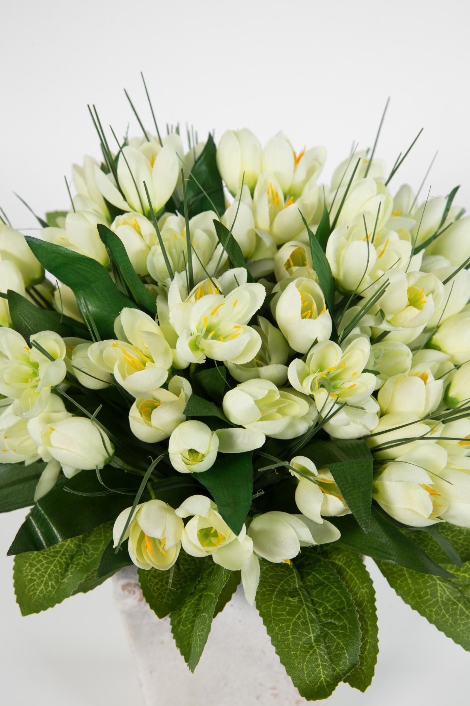 DP Kunstblumen Frühlingsblumen Kunstpflanze Wiesenblumengras 38cm weiß im Dekot