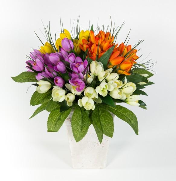 Krokusstrauß 32x30cm bunt Frühlingsstrauß Kunstblumen künstlicher handgebundener Strauß Blumenstrauß