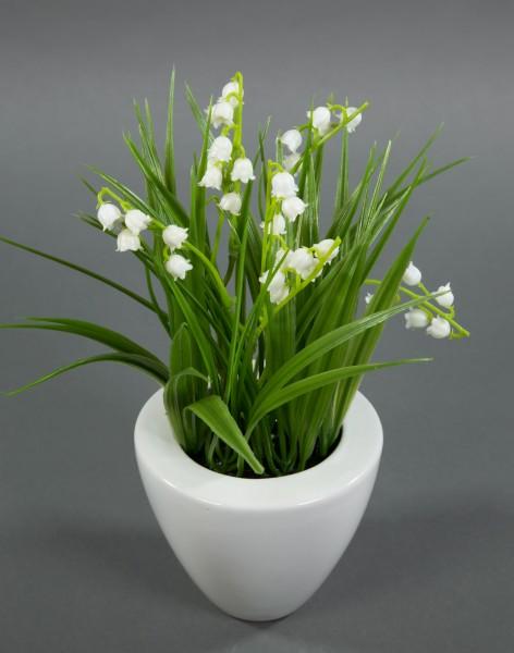 Maiglöckchen 24cm im weißen Keramiktopf GA Kunstblumen Kunstpflanzen künstliche Blumen