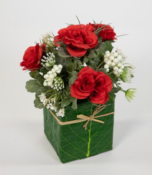 Rosengesteck 20x15cm rot im Blatttopf LM Kunstblumen Seidenblumen künstliche Blumen