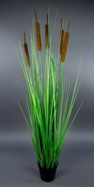Schilfgras 100cm im Topf YF Kunstpflanzen Grasbusch künstliches Gras Dekogras Schilfrohr Schilf
