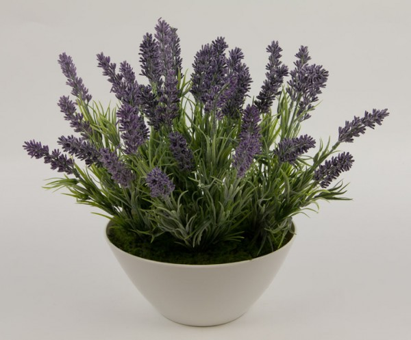 Lavendel-Arrangement in weißer Dekoschale FI Kunstblumen Kunstpflanzen