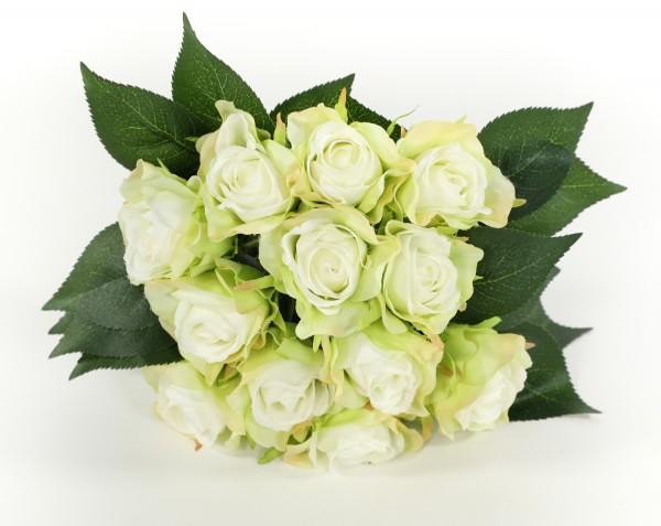 Rosenbouquet 25cm weiß-grün mit 12 Rosen CG Kunstblumen künstlicher Strauß Rosen Rosenstrauß