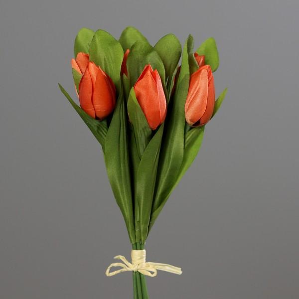Tulpenbund 30cm orange DP Kunstblumen künstliche Blumen Tulpen Tulpenbündel