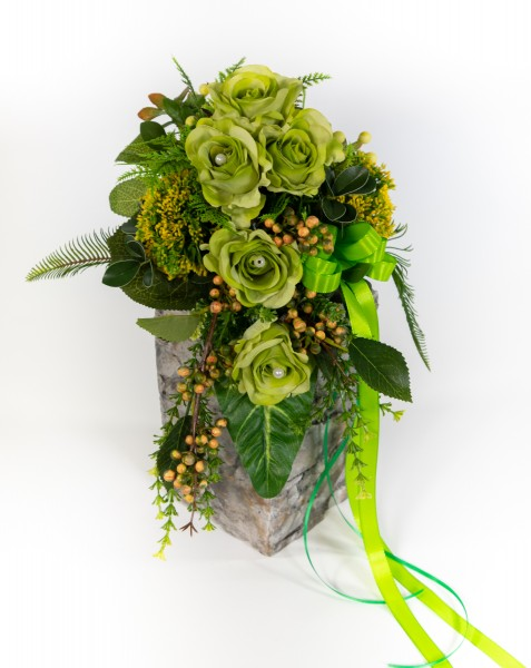Brautstrauß / Rosenstrauß 60cm/35cm x 32cm grün Kunstblumen künstlicher handgebundener Strauß
