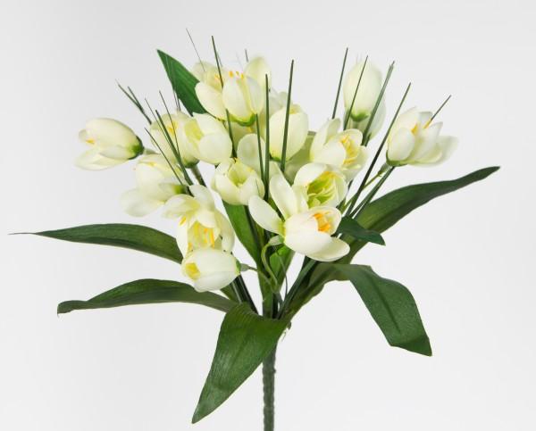Krokusbusch 28cm weiß-creme PM Kunstpflanzen Kunstblumen künstlicher Crocus Krokus Blumen