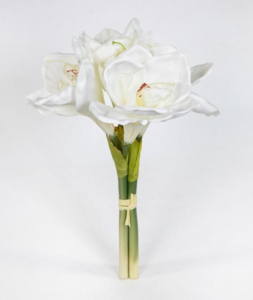 Amaryllisbund 35cm weiß GA Kunstpflanzen künstliche Amaryllis Blumen Ritterstern