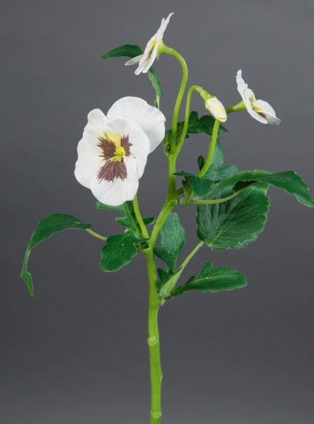 Stiefmütterchenzweig 36cm weiß GA Kunstblumen Seidenblumen künstliche Blumen Stiefmütterchen