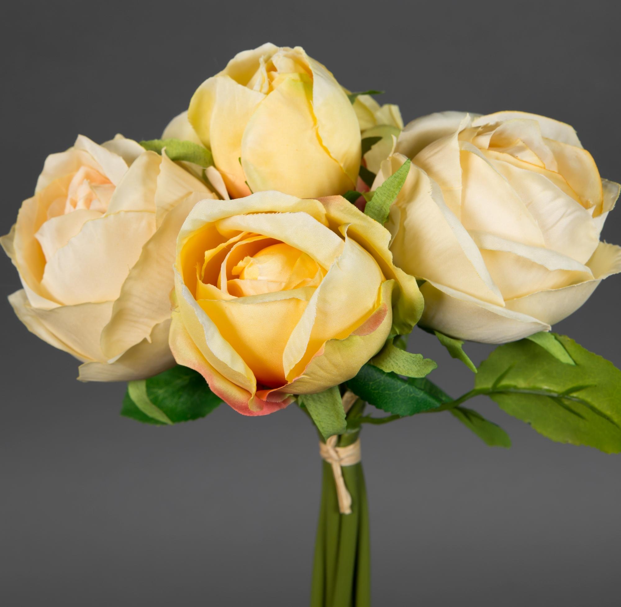 rosenstrau 28x20cm gelb salmon ft kunstblumen k nstliche rosen blumen strau blumenstrau. Black Bedroom Furniture Sets. Home Design Ideas