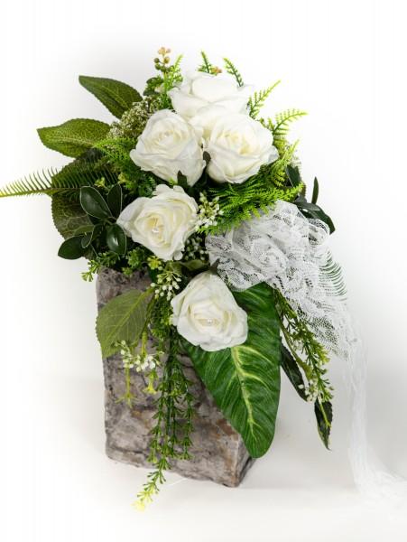 Brautstrauß / Rosenstrauß 60cm/35cm x 32cm weiß Kunstblumen künstlicher handgebundener Strauß