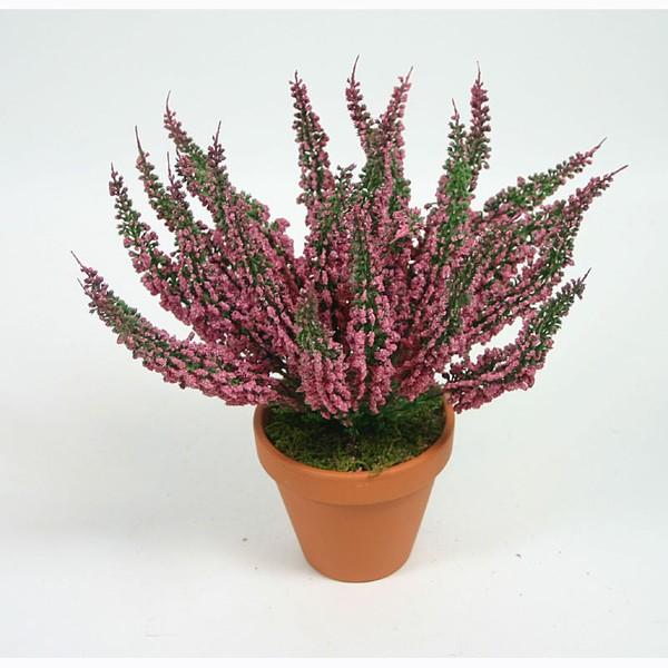 Erika 28cm dunkel-rosa -ohne Topf- DP Kunstpflanzen Kunstblumen Erikabusch künstliches Heidekraut