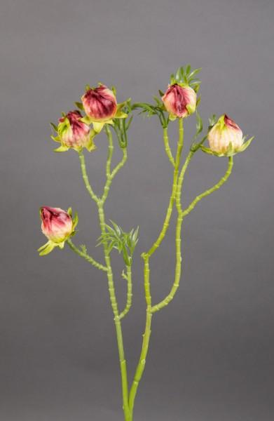 Hibiskuszweig 56cm fuchsia-creme LM Kunstblumen künstliche Blumen künstlicher Hibiskus Eibisch