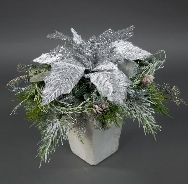 Weihnachtssternstrauß 36x25cm silber JA Kunstblumen künstliche Blumen Poinsettie Weihnachtsstern