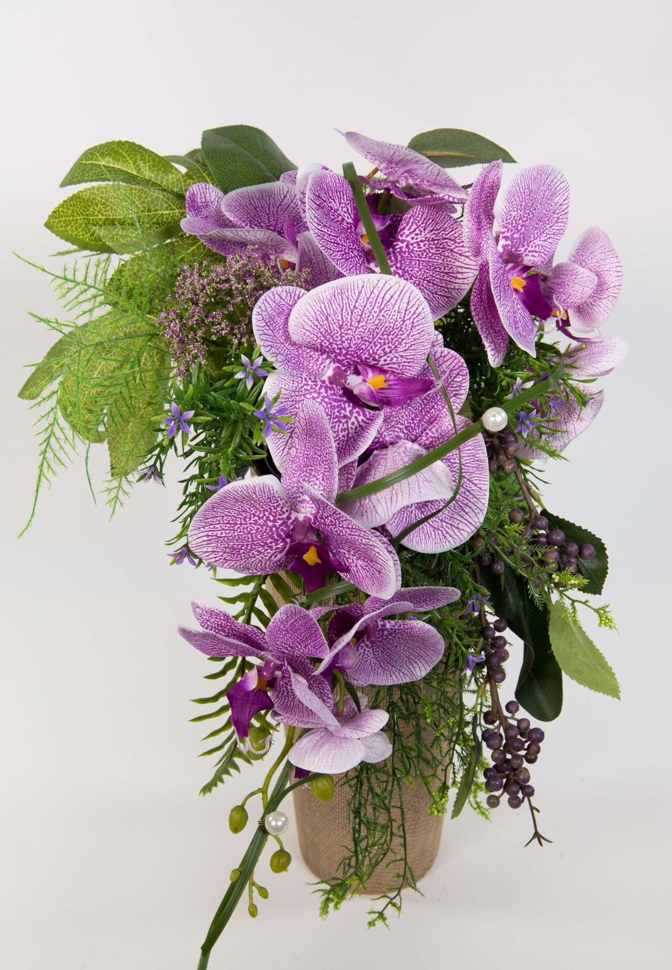 Orchideenstrauss Brautstrauss Lila Weiss Kunstblumen Kunstliche