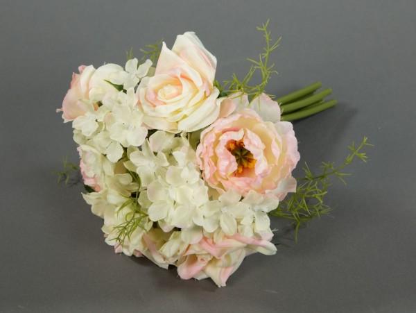 Rosen- Hortensienbouquet 24cm rosa-creme DP Kunstblumen künstlicher Strauß Rosen Rosenstrauß