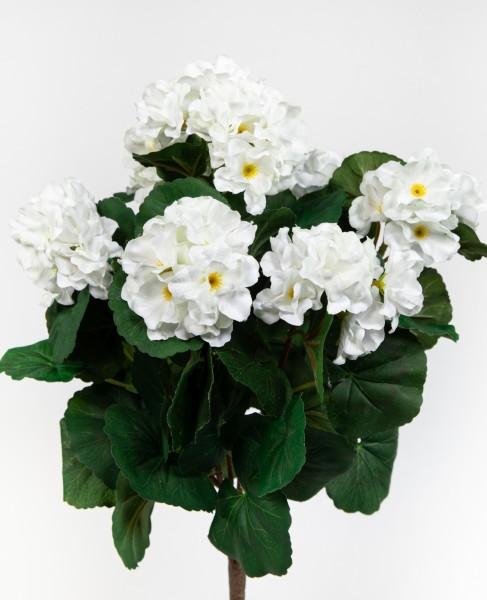 Geranie 38cm weiß -ohne Topf- ZF Kunstpflanzen künstliche Blumen Pflanzen Kunstblumen