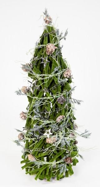 Holz-Tannenbaum 46cm grün-beflockt mit Deko künstlicher Baum Tann Weihnachtsbaum