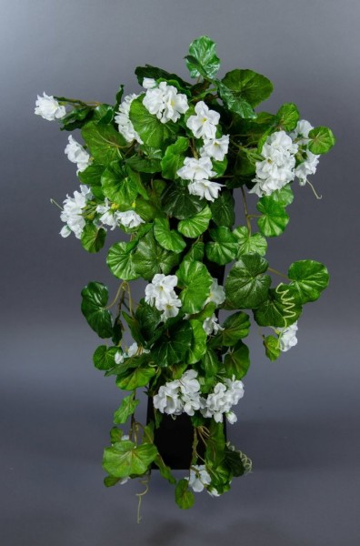Geranienhänger 70cm weiß ZF Kunstpflanzen künstliche Geranie Blumen Pflanzen Hängegeranie